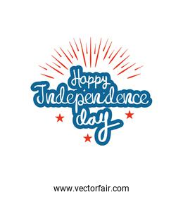United Stated independence day concept, July 4th typographic design, flat design
