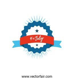 Fourth of July, United Stated independence day concept, seal and ribbon with July 4th typographic design, flat design
