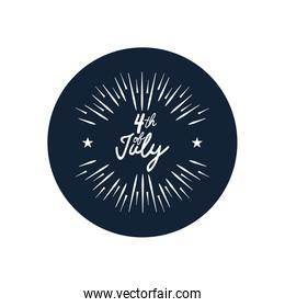 Fourth of July, United Stated independence day concept, July 4th typographic design with decorative burst,  block silhouette  design