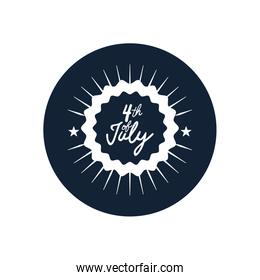 4 of july design with decorative seal and burst,  block silhouette  style