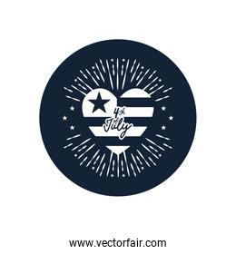4th of july concept, usa flag in heart shape with decorative burst,  block silhouette  style