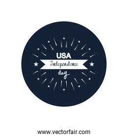 usa independence day design with decorative burst and ribbon,  block silhouette  style