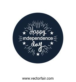 United Stated hsppy independence day typographic design with decorative stars and burst,  block silhouette  design