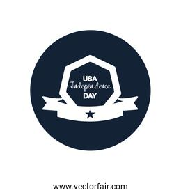 United Stated independence day typographic design with decorative frame and ribbon,  block silhouette  design