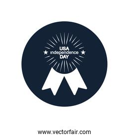 seal stamp with usa independence day design,  block silhouette  style