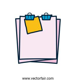 document pages with binder clips icon, line and fill style