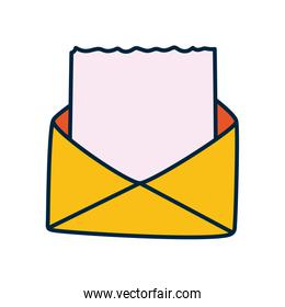 envelope with blank document icon, line and fill style