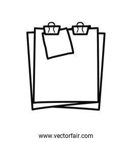 document pages with binder clips icon, line style