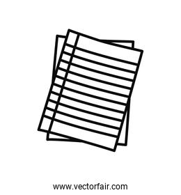notebook striped pages icon, line style