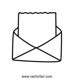 envelope with blank document icon, line style