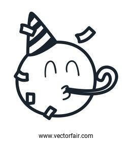 Happy emoji face with party hat line style icon