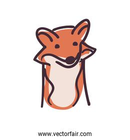 fox cartoon flat style icon vector design
