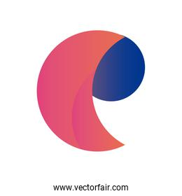 Abstract comma shape gradient style icon vector design