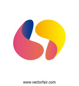 Abstract commas shapes gradient style icon vector design