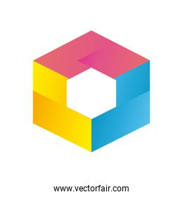 Abstract hexagon shape gradient style icon vector design