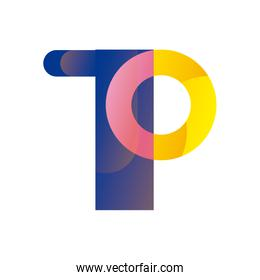 Abstract t shape gradient style icon vector design