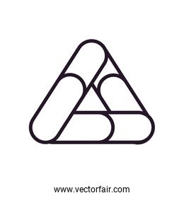 Abstract triangle shape line style icon vector design