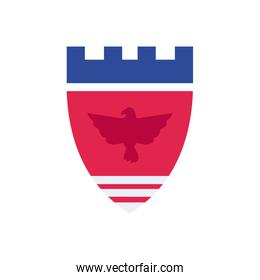 Usa flag shield with eagle flat style icon vector design