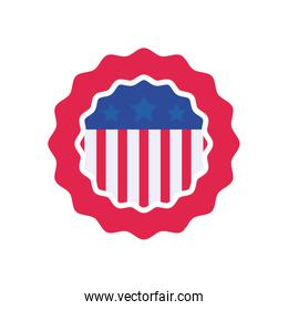 Usa flag seal stamp flat style icon vector design