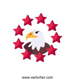 Usa eagle with stars flat style icon vector design