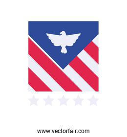 Usa eagle with stripes flat style icon vector design