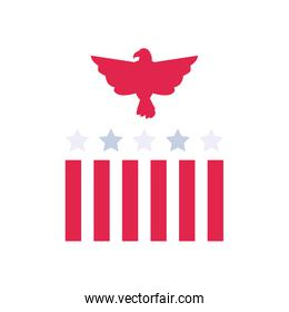 Usa eagle with stripes and stars flat style icon vector design