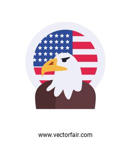 Usa eagle with flag seal stamp flat style icon vector design