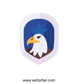 Usa eagle inside shield with star flat style icon vector design