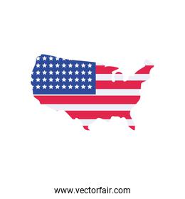 Usa flag map flat style icon vector design