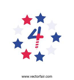usa number four with stars flat style icon vector design