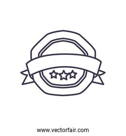Seal stamp with star and ribbon line style icon vector design