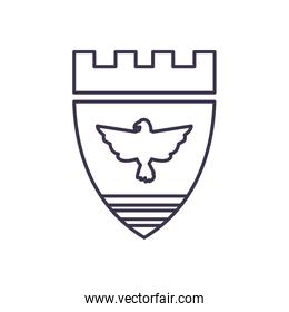 Usa flag shield with eagle line style icon vector design