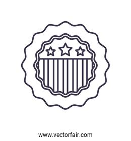 Usa flag seal stamp line style icon vector design