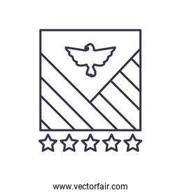 Usa eagle with stripes line style icon vector design