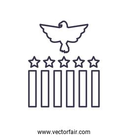 Usa eagle with stripes and stars line style icon vector design