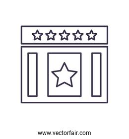 Usa rectangle with stars line style icon vector design