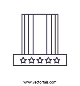 Usa flag hat line style icon vector design