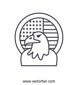 Usa eagle with flag seal stamp line style icon vector design