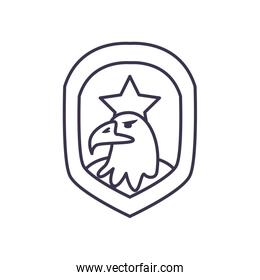 Usa eagle inside shield with star line style icon vector design