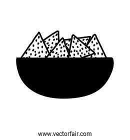 Nachos inside bowl silhouette style icon vector design