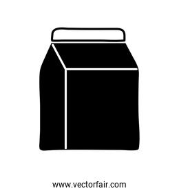 Isolated milk box silhouette style icon vector design