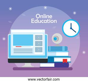 education online technology with computer and icons