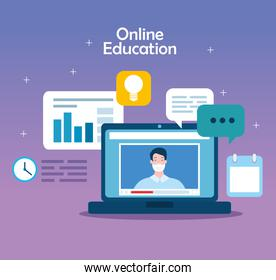 education online technology with laptop and icons