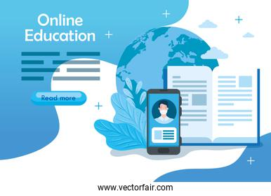 education online technology with smartphone and icons
