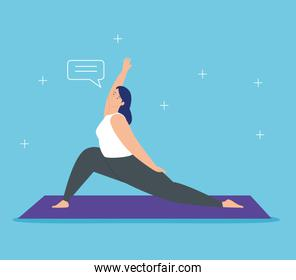 woman practicing yoga with speech bubble