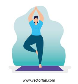 young woman practicing yoga character