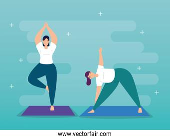 young women practicing yoga character