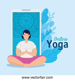 woman practicing yoga online technology