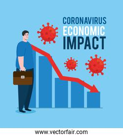 man with infographic of economic impact by covid 2019