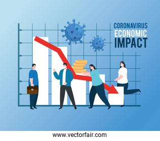 people with infographic of economic impact by covid 2019